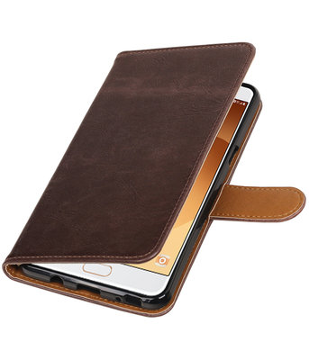 Mocca Pull-Up PU booktype wallet cover voor Hoesje voor Samsung Galaxy C9