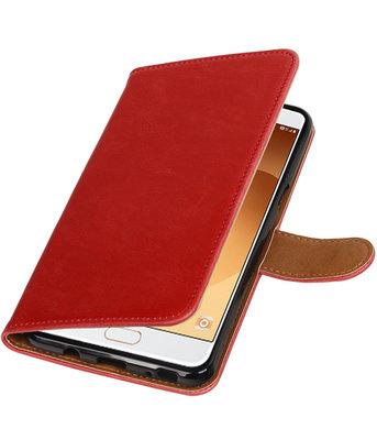 Rood Pull-Up PU booktype wallet cover voor Hoesje voor Samsung Galaxy C9