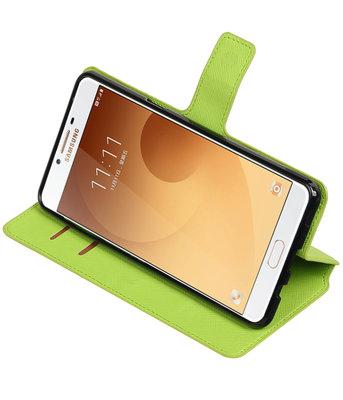 Groen Hoesje voor Samsung Galaxy C9 TPU wallet case booktype HM Book