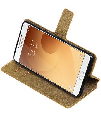 Goud Hoesje voor Samsung Galaxy C9 TPU wallet case booktype HM Book
