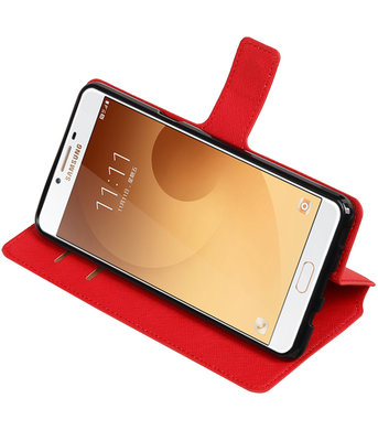 Rood Hoesje voor Samsung Galaxy C9 TPU wallet case booktype HM Book