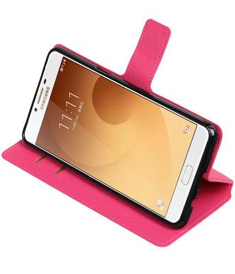 Roze Hoesje voor Samsung Galaxy C9 TPU wallet case booktype HM Book