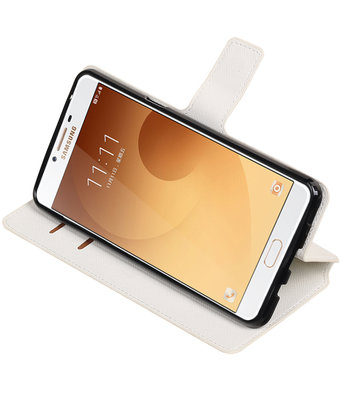 Wit Hoesje voor Samsung Galaxy C9 TPU wallet case booktype HM Book