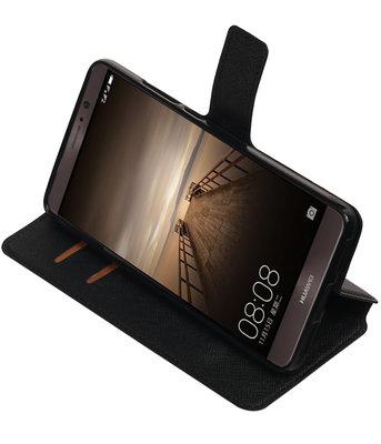 Zwart Hoesje voor Huawei Mate 9 TPU wallet case booktype HM Book