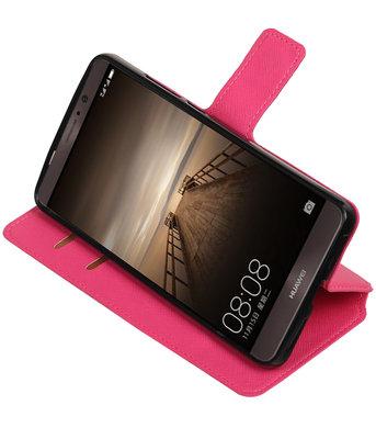 Roze Hoesje voor Huawei Mate 9 TPU wallet case booktype HM Book