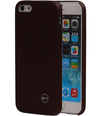 Donker Bruin Hout QY TPU Cover Case voor Hoesje voor Apple iPhone 6/6S Plus