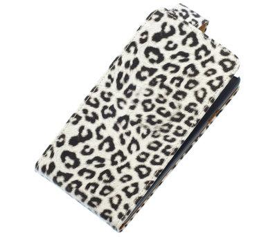 Wit Luipaard Classic Flip case voor Hoesje voor Sony Xperia Z1 Compact
