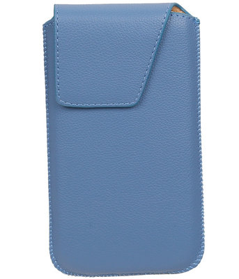Universele Leder look insteekhoes/pouch Model 1 - Blauw Medium