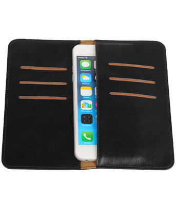 Universele Zwart Pull-up Large Pu portemonnee wallet hoesje
