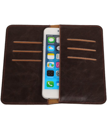 Universele Mocca Pull-up Large Pu portemonnee wallet hoesje