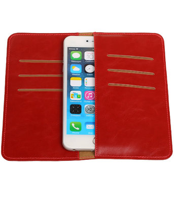 Universele Rood Pull-up Large Pu portemonnee wallet hoesje