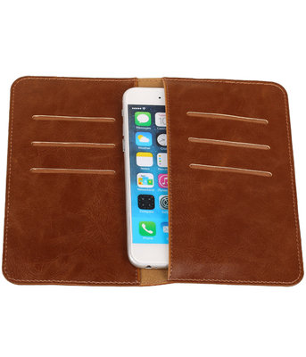 Universele Bruin Pull-up Medium Pu portemonnee wallet hoesje