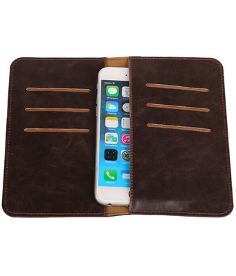 Universele Mocca Pull-up Medium Pu portemonnee wallet hoesje