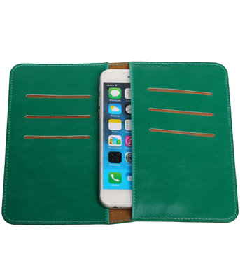 Universele Groen Pull-up Medium Pu portemonnee wallet hoesje