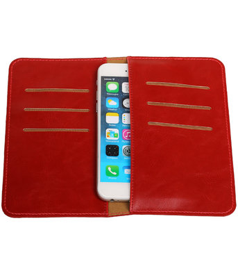 Universele Rood Pull-up Medium Pu portemonnee wallet hoesje