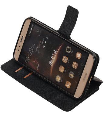 Zwart Hoesje voor Huawei G8 TPU wallet case booktype HM Book