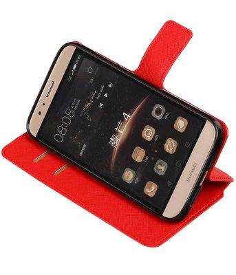 Rood Hoesje voor Huawei G8 TPU wallet case booktype HM Book
