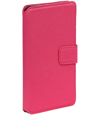 Roze Hoesje voor Samsung Galaxy S4 mini I9190 TPU wallet case booktype HM Book