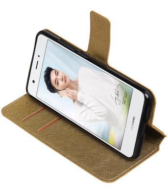 Goud Hoesje voor Huawei Nova TPU wallet case booktype HM Book