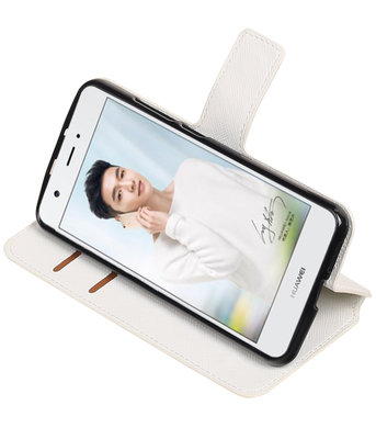 Wit Hoesje voor Huawei Nova TPU wallet case booktype HM Book