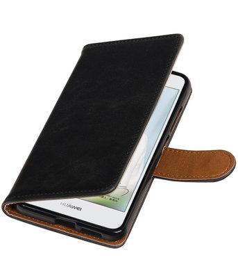 Zwart Pull-Up PU booktype wallet cover voor Hoesje voor Huawei Nova