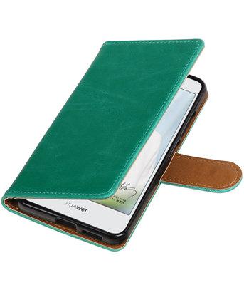Groen Pull-Up PU booktype wallet cover voor Hoesje voor Huawei Nova