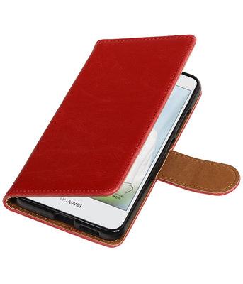 Rood Pull-Up PU booktype wallet cover voor Hoesje voor Huawei Nova