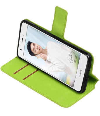 Groen Hoesje voor Huawei Nova Plus TPU wallet case booktype HM Book