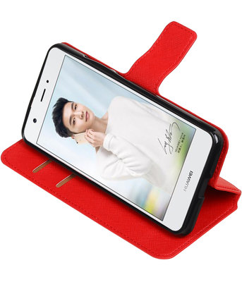 Rood Hoesje voor Huawei Nova Plus TPU wallet case booktype HM Book