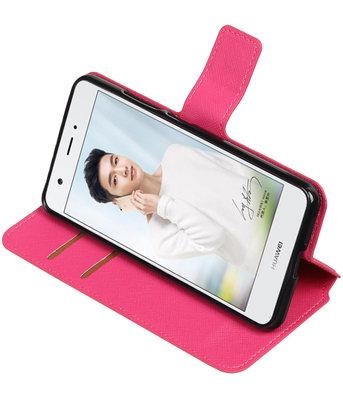 Roze Hoesje voor Huawei Nova Plus TPU wallet case booktype HM Book