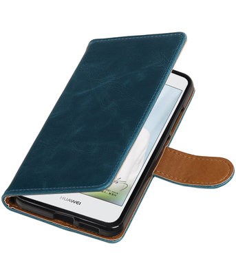 Blauw Pull-Up PU booktype wallet cover hoesje voor Huawei Nova Plus