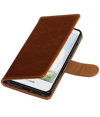 Bruin Pull-Up PU booktype wallet cover hoesje voor Huawei Nova Plus