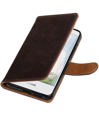 Mocca Pull-Up PU booktype wallet cover voor Hoesje voor Huawei Nova Plus