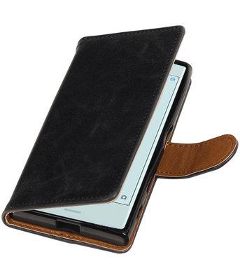 Zwart Pull-Up PU booktype wallet cover voor Hoesje voor Sony Xperia X Compact