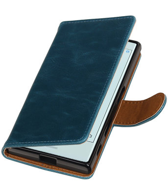 Blauw Pull-Up PU booktype wallet cover voor Hoesje voor Sony Xperia X Compact