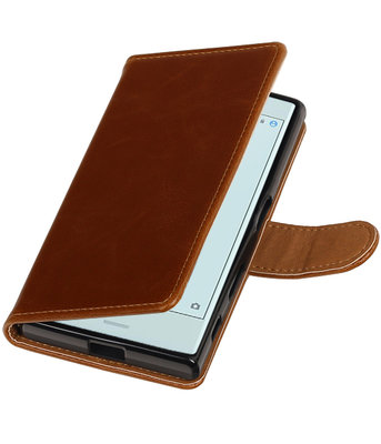 Bruin Pull-Up PU booktype wallet cover voor Hoesje voor Sony Xperia X Compact