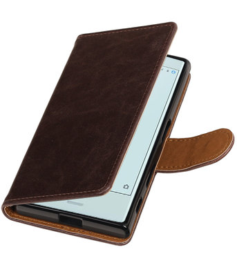 Mocca Pull-Up PU booktype wallet cover voor Hoesje voor Sony Xperia X Compact