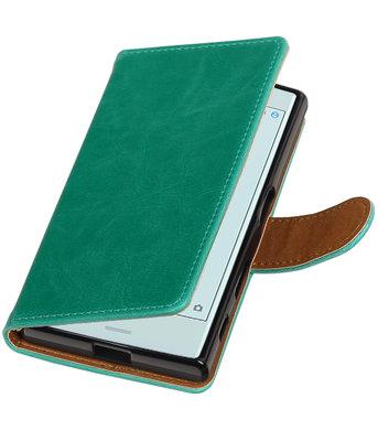 Groen Pull-Up PU booktype wallet cover voor Hoesje voor Sony Xperia X Compact