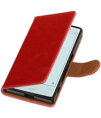 Rood Pull-Up PU booktype wallet cover voor Hoesje voor Sony Xperia X Compact