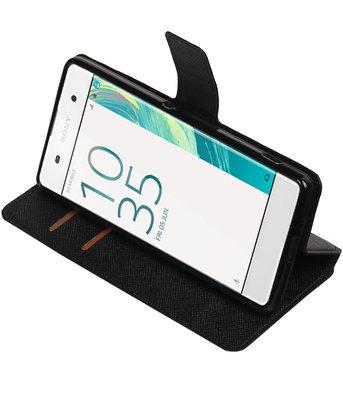 Zwart Hoesje voor Sony Xperia XA TPU wallet case booktype HM Book