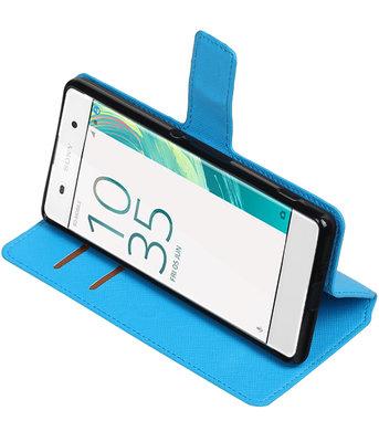 Blauw Hoesje voor Sony Xperia XA TPU wallet case booktype HM Book