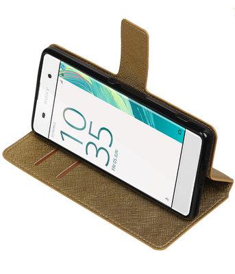 Goud Hoesje voor Sony Xperia XA TPU wallet case booktype HM Book