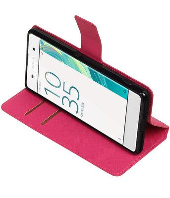Roze Hoesje voor Sony Xperia XA TPU wallet case booktype HM Book