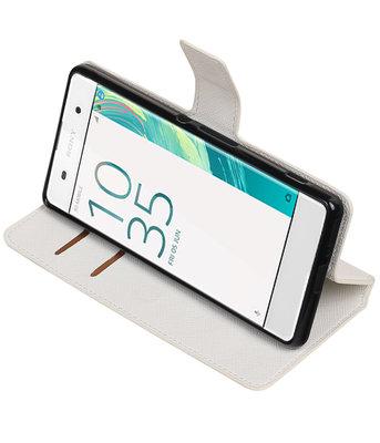 Wit Hoesje voor Sony Xperia XA TPU wallet case booktype HM Book