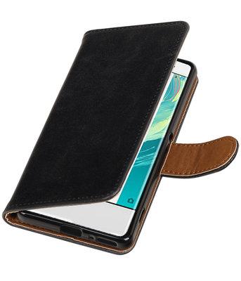 Zwart Pull-Up PU booktype wallet cover voor Hoesje voor Sony Xperia XA