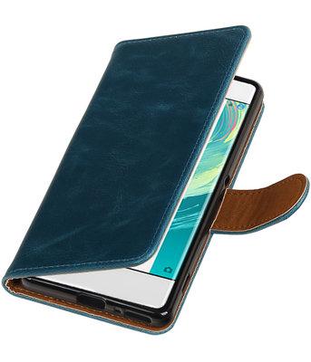 Blauw Pull-Up PU booktype wallet cover voor Hoesje voor Sony Xperia XA