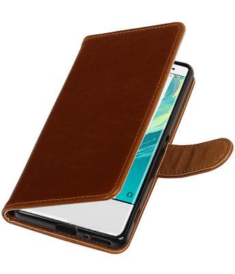 Bruin Pull-Up PU booktype wallet cover voor Hoesje voor Sony Xperia XA