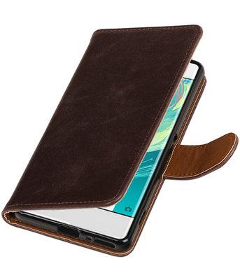 Mocca Pull-Up PU booktype wallet cover voor Hoesje voor Sony Xperia XA