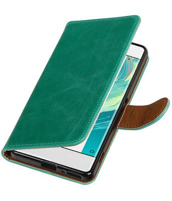 Groen Pull-Up PU booktype wallet cover voor Hoesje voor Sony Xperia XA