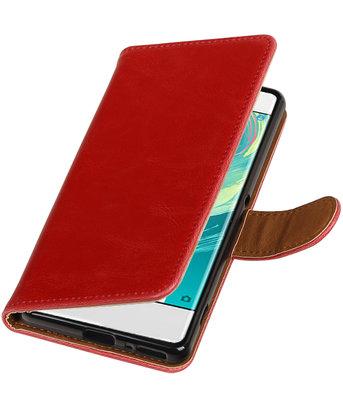 Rood Pull-Up PU booktype wallet cover voor Hoesje voor Sony Xperia XA